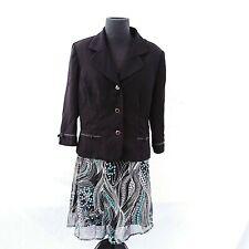 K & Company Blazer Skirt Suit Set Size 14 Black And Floral