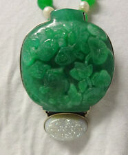 Chinese Untrited Green Jade Hand Carved Gold Fish In Bowl Unique Unisex Pendant