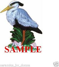 Great Blue Heron Bird CERAMIC READY to PAINT 6 inch Tall Statue figurin