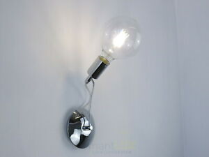 applique lampada da parete design moderno cromo bagno industrial vintage minimal