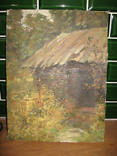 "Russian oil painting "" July"" countryside , old barn"