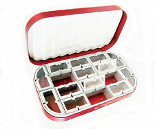 Aluminum Red Satin 16 Compartment Fly Box Nymphs Wet Dry Flies Rods Reels Hook