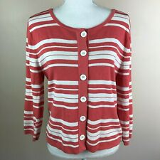 Finity Womens Large Coral White Stripe Cardigan Sweater Buttons