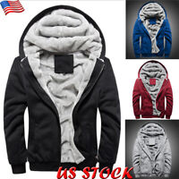 Mens Winter Fur Lined Hoodie Jacket Thick Plush Fleece Coat Hooded Parka Outwear