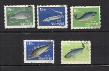 poisson  Corée du N 1962 Y&T N°395 à 399 5 timbres oblitérés /T4090