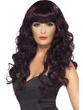 color prugna ricci parrucca da Sirena con frangia ABITO STRAVAGANTE donna lungo