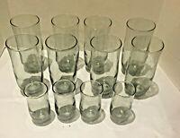 VINTAGE Libbey Smokey Charcoal GRAY SWIRL Tumblers and Juice Glasses Set of 12