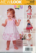 NEW LOOK SEWING PATTERN 6353 BABY SZ NB-L EASY PILLOWCASE STYLE DRESSES