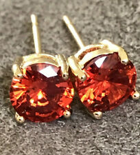 Red Cubic Zirconia  Earrings 6mm  14k Gold Plated Sterling Silver  Best Quality