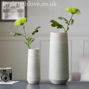 Set Of 2 Vintage Textured Grey & Green Pottery Flower Vases Home Décor