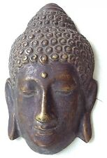Buddha Mask Sculpture Figure Bronze Asian Art Home Decor