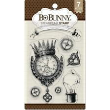 New BO BUNNY RUBBER STAMP clear cling set STEAMPUNK free usa ship