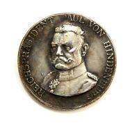 EXONUMIA MEDAL PAUL VON HINDENBURG / WEIMAR REPUBLIC / SILVERED MEMORY TOKEN