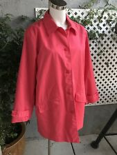 TRAVELSMITH Womens Coral Light Trench Coat Cotton Jacket Button Down Sz Lg