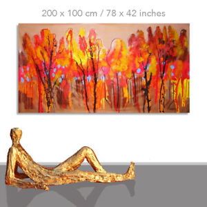 PAINTING LANDSCAPE AUTUMN * WARM COLORS WALL MODERN LIVING ROOM ART * 78 x 40