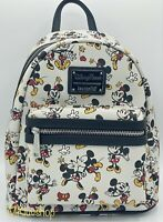 NWT Loungefly Disney Mickey And Minnie Mouse Shorts White Mini Backpack Kissing