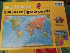 """Large Pieces World Map 500 Piece Jigsaw Puzzle Hema Maps 24"""" X 36"""" Complete"""