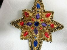 Large christmas ornament gold in color w/lots of beads