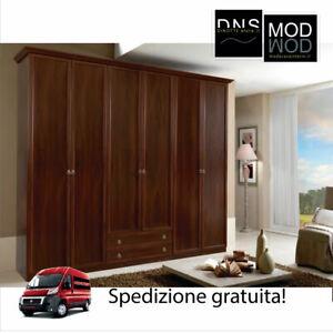 Armadio MCS Ninfea ARM050 6 Ante e 2 Cassetti in Legno con Specchio Beige/Noce