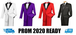 Purple or Black or Red or White Tuxedo Jacket & Pant Set Prom Tux Satin Lapel