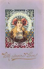 Art Nouveau Young Beautiful  Woman Solid Colors Postcard