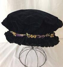 Antique Vtg Edwardian Hat Handmade Folk Velvet Victorian Costume Mens Womens