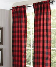 "RED BUFFALO CHECK CURTAINS : 84"" COUNTRY CABIN LODGE PLAID WINDOW PANEL DRAPES"