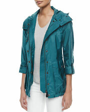 NWT Burberry Brit Maidleigh Hooded Jacket Anorak Rain Teal Trench Coat S 4 6