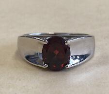 Vintage 925 Sterling Silver Garnet Gemstone Men's Ring Size 11 3/4,  5.9 Grams