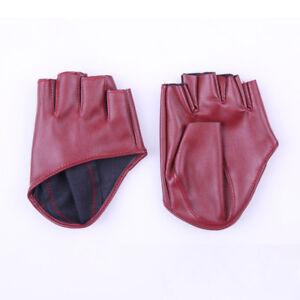 Women Lady Short Leather Gloves Half Finger Fingerless Dance Stage Driving Newly