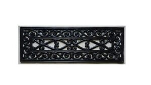 Ottomanson Rubber Black Iron Cutout 10 in. x 30 in. Stair Mat  (5-Pack) (R)