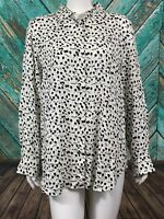 Talbots Women's Tunic Top Large Sheer Floral Button Front Long Roll Tab Sleeves
