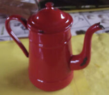 ANCIENNE CAFETIERE EMAIL ROUGE XX VINTAGE 8 tasses