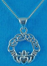 """Sterling Silver Claddagh Hands Necklace 18"""" Chain UK Supply FAST FREE DELIVERY"""