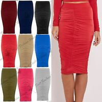 New Womens Ladies Stretchy Front Ruched Pencil Tube Bodycon Midi Skirt Plus Size