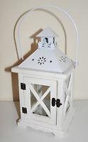 #10224 Holz Laterne Windlicht mit Metalldach Weiss H 28 cm NEU Shabby Chic