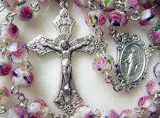 Handmade PINK Veluriyam ROSE BEADS ROSARY & ITALY CROSS MADEL Catholic necklace