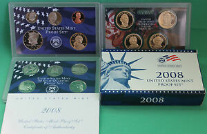2008 S United States Mint ANNUAL 14 Coin Proof Set Original Box and COA Complete