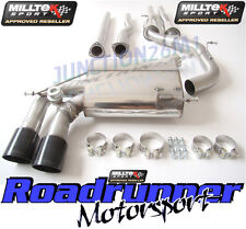 Milltek RS3 8P Exhaust Cat Back Resonated & Secondary Cat ByPass DeCat Black Tip