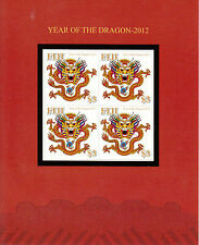 Fiji 2012 MNH Year of Dragon 4v M/S Lunar New Year Zodiac Chinese Astrology