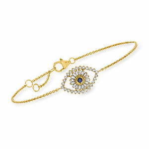 Diamond Evil Eye Bracelet with Sapphire Accent in 18kt Gold Over Sterling
