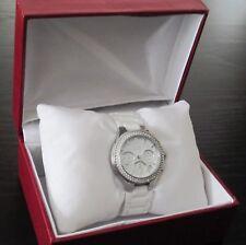 DKNY Silver-tone Glitz White Ceramic Chronograph Watch NY4985