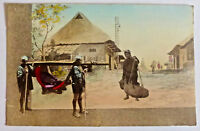Japanese-Hand Tinted-Colour-Postcard-Fascinating Village Scene-Early 1900's