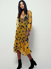 Size Large For Love and Lemons Sierra Midi Yellow Floral Dress Hippy Hippie Hot