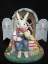 Music Box Ceramic Easter Bunny Painting Eggs in Tree Trunk Gazabo