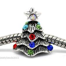 Multi Crystal Christmas Tree Charm, Christmas Charm Bead for Charm Bracelets