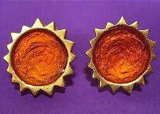 SoHo® Ohrclips Sonne gold Kunstharz orange retro resin rund oranje