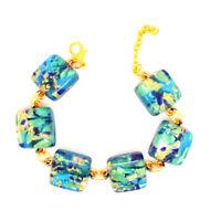 Murano Glass Bracelet Blue Green Gold from Venice