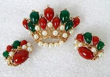 Vintage 1960s Crown Trifari India Kashmir Jewels Demi Parure Brooch Earrings Set