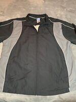 Vintage 90's Reebok Men's Black & Gray Windbreaker Zip Track Jacket Size XL Rare